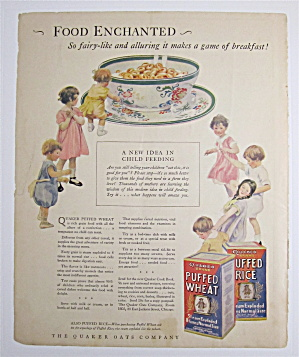 1925 Quaker Puffed Wheat & Rice Cereal With Kids