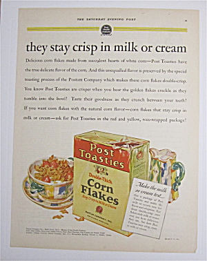 1927 Post Toasties Corn Flakes W/ Bowl & Box Of Cereal