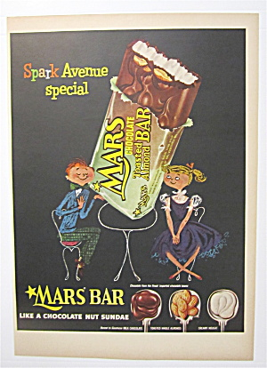 1954 Mars Almond Bar With Man & Woman At Table
