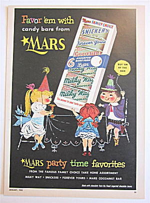 1955 Mars Candy Bars With Kids At A Party