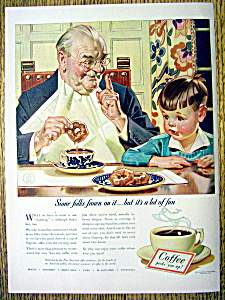 1940 Coffee Ad W/boy Watching Man By Leyendecker