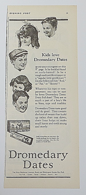 1923 Dromedary Dates With Kids Faces