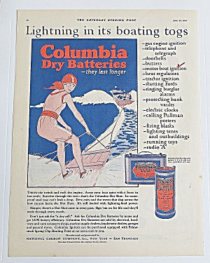 1924 Columbia Batteries With Woman Water Skiing (Image1)