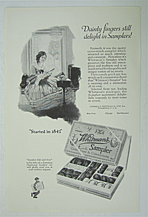 1925 Whitman's Sampler with Girl Cross Stitching  (Image1)
