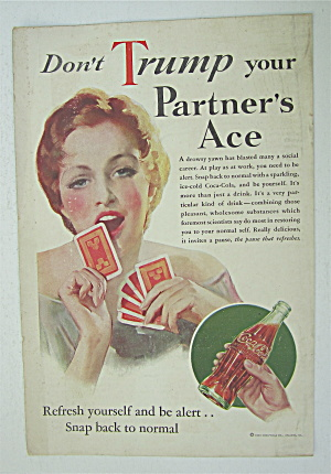 1933 Coca Cola (Coke) With Lady Playing Cards