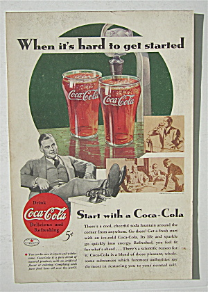 1934 Coca Cola (Coke) With Man With His Feet Up