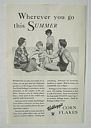 1934 Kellogg's Corn Flakes With Family On Beach