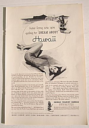 1934 Hawaii Tourist Bureau with Woman on Beach (Image1)