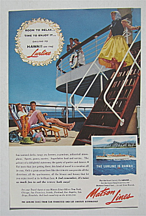 1955 Matson Lines With Hawaii On The Lurline