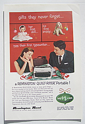 1957 Remington Rand Typewriter W/girl & Boy