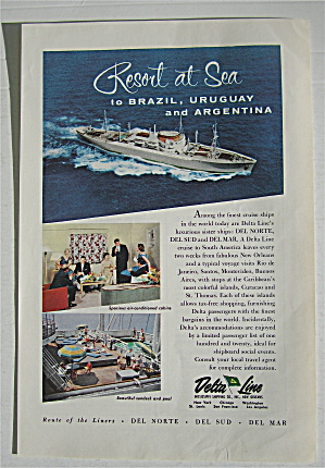 1957 Delta Line With Resort At Sea