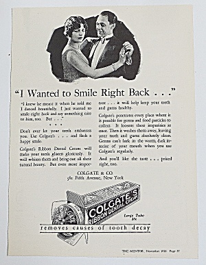 1926 Colgate Dental Cream With Couple Dancing