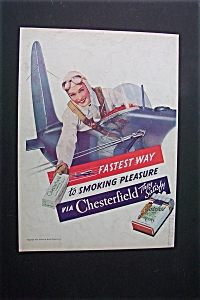 1938 Dual Ad:Chesterfield Cigarettes & Hiram Walker Gin (Image1)