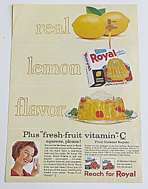 1963 Royal Gelatin Dessert With Lemon Jello Mold
