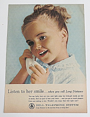 1963 Bell Telephone System With Girl On Phone