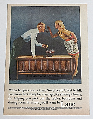1963 Lane Sweet Heart Chest With Couple With Punch Bowl