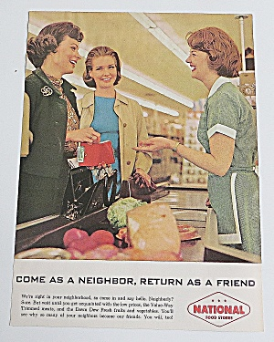 1963 National Food Stores With Women & Cashier Talking
