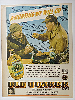 1937 Old Quaker Whiskey With Two Men Hunting