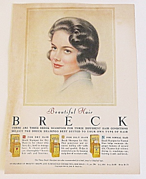 1963 Breck Shampoo With Lovely Black Haired Woman