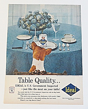 1963 Ideal Dog Food With Dog Sitting At Table