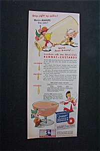 1944 Dual Ad: Junket Powder & Linit Starch