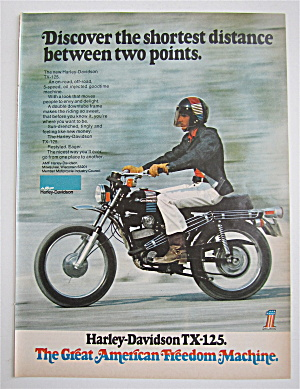 1973 Harley Davidson W/man Riding On A Tx-125