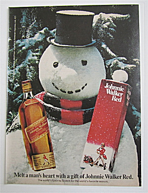 1974 Johnnie Walker Red with Snowman Holding A Bottle (Image1)