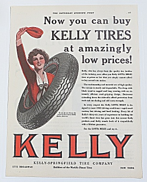 1930 Kelly Tires With Woman Waving
