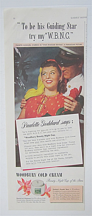 1943 Woodbury Cold Cream With Paulette Goddard