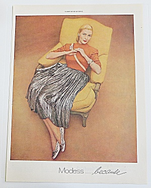 1948 Modess With Woman Sitting In Chair