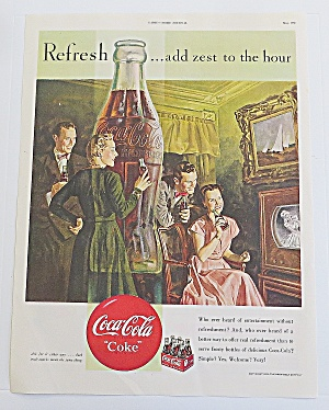 1950 Coca Cola With Couples Watching Television