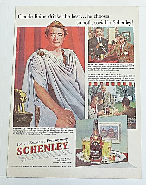 1951 Schenley Whiskey With Claude Rains
