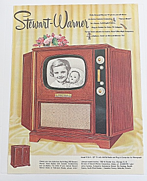 1951 Stewart Warner Television With Girl & Her Doll