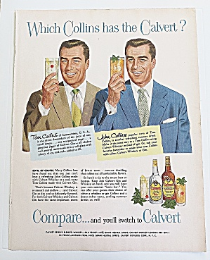 1953 Calvert Whiskey & Gin With Tom & John Collins