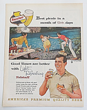1960 Falstaff Beer With People On Picnic