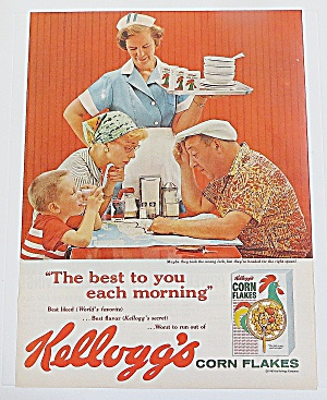 1960 Kellogg's Corn Flakes With Man Looking At Map