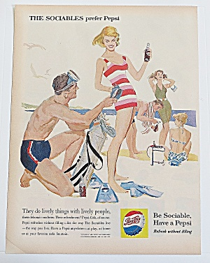 1960 Pepsi Cola With Man & Woman On Beach (Image1)