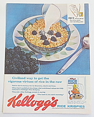1960 Kellogg's Rice Krispies With Bowl Of Cereal