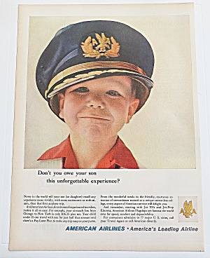1960 American Airlines With Boy Wearing Pilot's Hat
