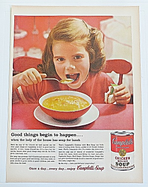 1960 Campbell's Chicken With Rice W/little Girl & Bowl