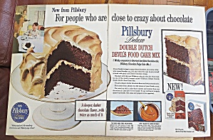 1960 Pillsbury Double Dutch Devils Food Cake Mix W/cake