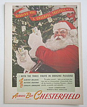 1945 Chesterfield Cigarettes With Santa Claus & Tree