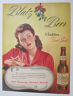 1945 Blatz Beer With Woman Looking At Mistletoe