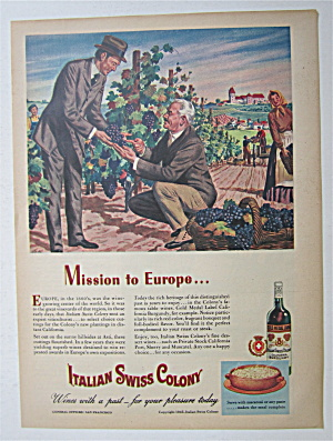 1945 Italian Swiss Colony Wine W/two Men Talking