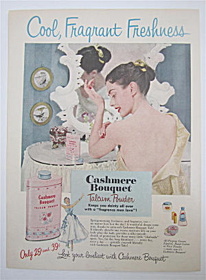 1950 Cashmere Bouquet Talcum Powder W/woman
