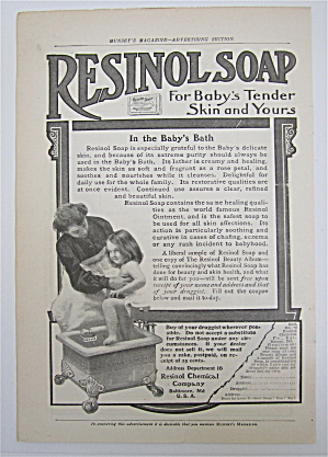 1905 Resinol Soap With Mother Bathing Child