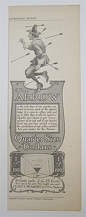 1905 Arrow Quarter Size Collars W/man With Arrows