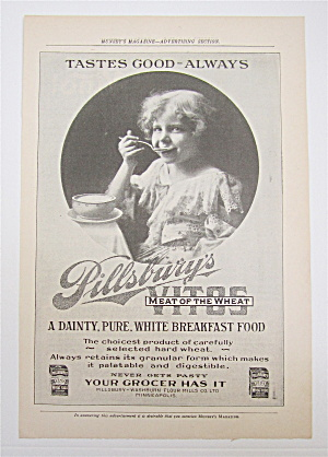 1905 Pillsbury's Vitos With Little Girl Eating A Bowl