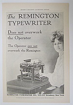 1905 Remington Typewriter With Woman Typing