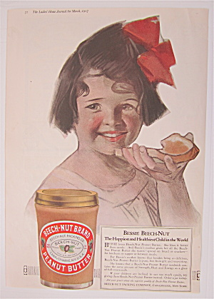 1917 Beech Nut Peanut Butter W/ Little Girl & Bread